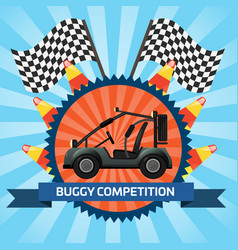 Buggy car competition banner with checkered flag vector