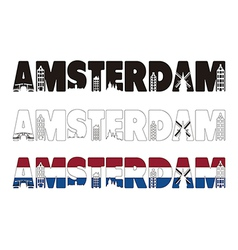 Amsterdam word with skyline including within vector