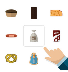 Flat icon food set of fizzy drink confection vector