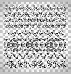 Floral line border set vector
