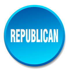 Republican blue round flat isolated push button vector