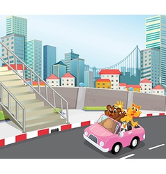 A pink vehicle with animals running at the city vector