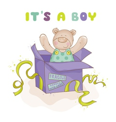 Baby bear in a box - baby shower or arrival card vector