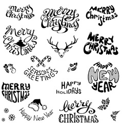 Christmas icons and festive elements vector