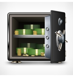 Bank open safe with money vector