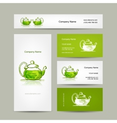 Business cards design green trea sketch vector