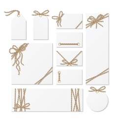 Cards tags and labels with rope bows ribbons vector