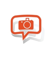 Camera message sticker orange vector