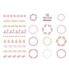 Set of 10 floral abstract brushes vector