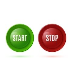 Two glossy buttons start and stop vector
