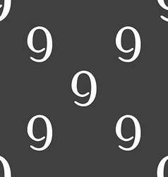 Number nine icon sign seamless pattern on a gray vector
