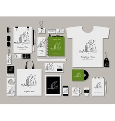 Corporate flat mock-up template cityscape design vector