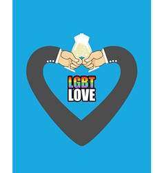 Lgbt love mens hands form heart is symbol of love vector