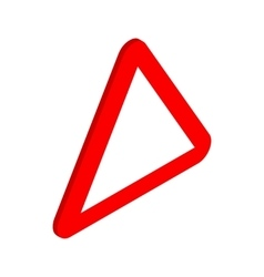Red triangular blank road sign icon vector