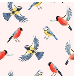 Seamless bullfinch and tomtit vector