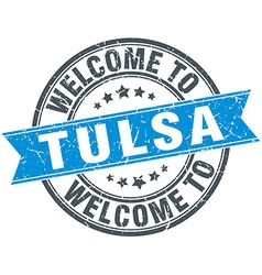 Welcome to tulsa blue round vintage stamp vector
