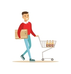 Asian Man With Cart And Carton Box Shopping In vector image