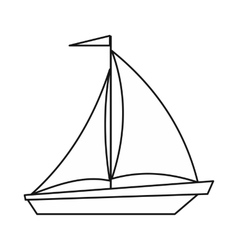 Boat with sails icon outline style vector image