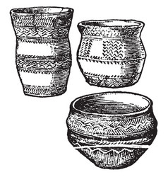 Bronze age pottery is a not drawn to scale vector