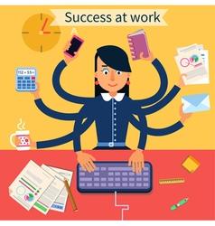 Business superwoman banner vector