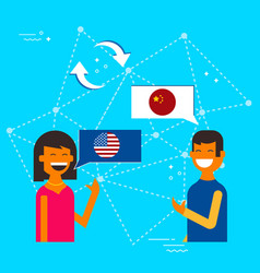 Chinese and american friends translating chat vector