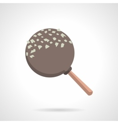 Chocolate lollipop flat color icon vector image