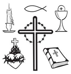 Christian hand-drawn symbols vector
