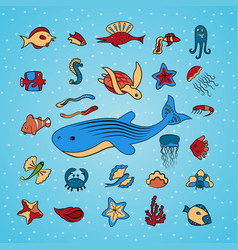 clip art with marine life vector image vector image