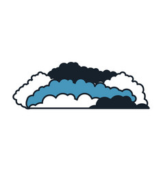 cloud cumulus in color blue sections silhouette vector image
