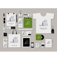 Corporate flat mock-up template cityscape design vector