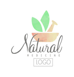 Creative watercolor logo with pestle mortar and vector