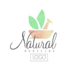 Creative watercolor logo with pestle mortar and vector
