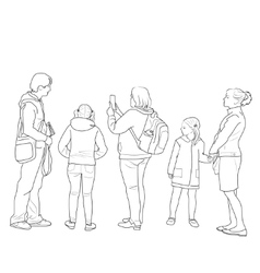 Drawing of people standing vector