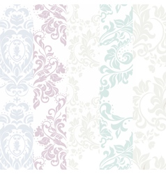 Floral damask ornament patterns vector