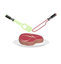 Fork and knife of light lightsaber as cutlery vector