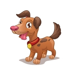 Funny cartoon brown dog vector image
