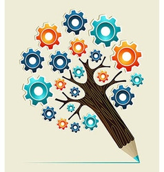 Gear wheel concept pencil tree vector image vector image