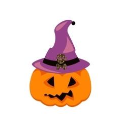 Halloween pumpkin in witch hat vector