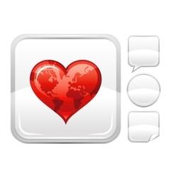Happy valentines day romance love heart world map vector