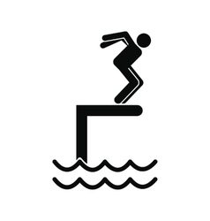Jumping in a pool icon vector image