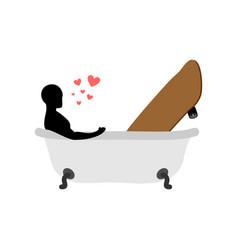 Lover skateboarding skateboard and guy in bath vector