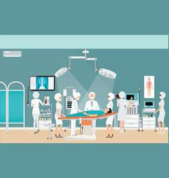 Medical hospital surgery operation room interior vector