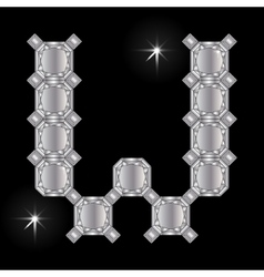 Metal letter W Gemstone Geometric shapes vector image