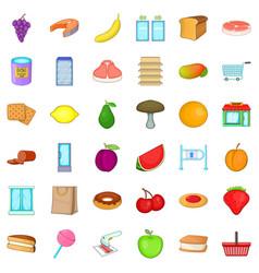 Organic produce icons set cartoon style vector