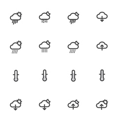 Outline weather icons isolated on white background vector image vector image