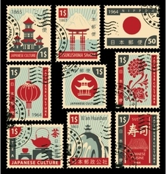 Postage stamps on the theme of japanese culture vector
