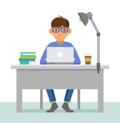 Programmer with Notebook on Workplace vector image