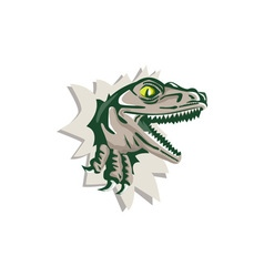Raptor head breaking out wall retro vector