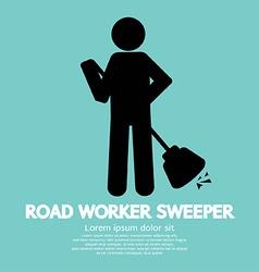 Road worker sweeper vector