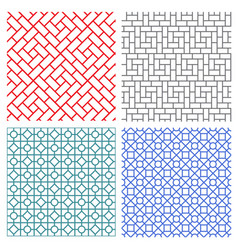 Seamless mesh line pattern in korean style vector